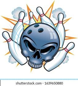 human skull bowling ball striking bowling pins