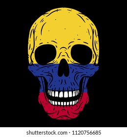 Human skull with Colombia flag isolated on black background. Skull. Vector skull.