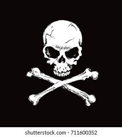 Human skull with cross bones on black background. Vector illustration.