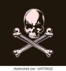 Human skull with cross bones. Vector illustration. Print vector design. Premium quality superior skull concept. Shabby t-shirt and hoodie emblem
