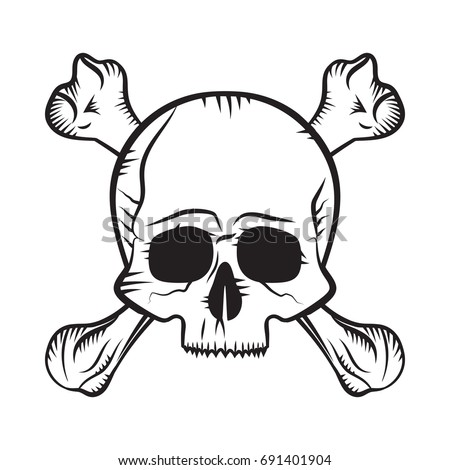 Human Skull Crossbones Drawing Like Pirates Stock Vector Royalty