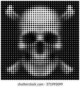 Human skull and crossbones in halftone dots style Pirates jolly roger flag Sign of poison or danger Vector isolated object for design, icons, user picture, avatars, t shirt, logo, tattoo or other