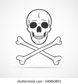 Human skull and crossbones, isolated on light background. Vector illustration