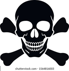 Human skull, crossbones. Symbol of danger. Abstract concept, icon. Vector illustration on white background.