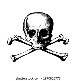 Human skull with crossbones. Vector illustration isolated on white background.