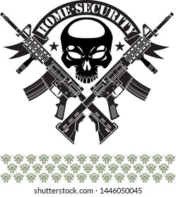 human skull with crossed assault rifles and banner with text home security
