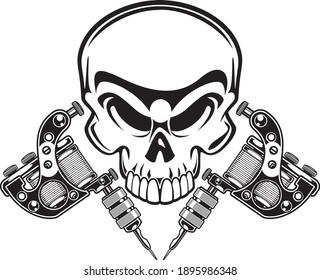 human skull and crossed tattoo machine