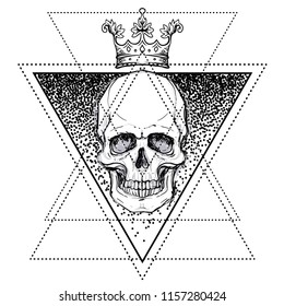 Human skull in crown over sacred geometry symbol. Demon, fairy tale character. Mystical circle. Esoteric. Monochrome drawing isolated on white. Vector illustration. Poster, t-shirt print design.