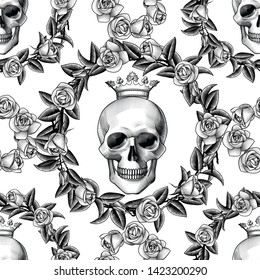 Human skull in crown with a wreath of roses. Seamless pattern. Tattoo design element. Vintage color engraving stylized drawing. For wallpaper, textile print, wrapping paper. Vector illustration.