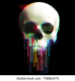Human skull in distorted glitch style on black background. Modern design element for branding, cover, poster, print textile. Stylish vector illustration.