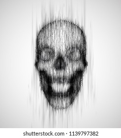 human skull from the drip of ink on the background. abstract vector.
