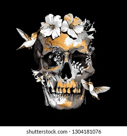 Human skull, exotic tropical Hibiscus flowers and hummingbirds. Gold and silver composition on a black background. Inspiration typography poster, hand drawn style t-shirt print. Vector illustration.