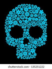 Human skull with flower elements for religion or halloween design. Jpeg version also available in gallery