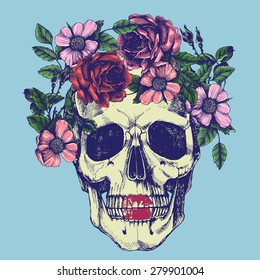 Human skull and flower wreath. Los muertos. Vector illustration.