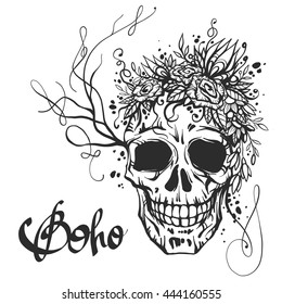 Human skull with flower wreath of roses and wild flowers. Beautiful bohemian chic vector illustration. Boho print, old school tattoo design
