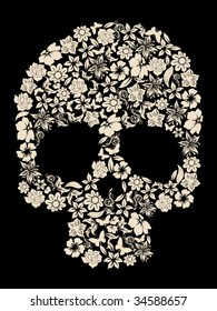 human skull of flowers vector