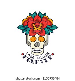 Human skull , flowers and word Forever, classic American old school tattoo logo design vector Illustration on a white background