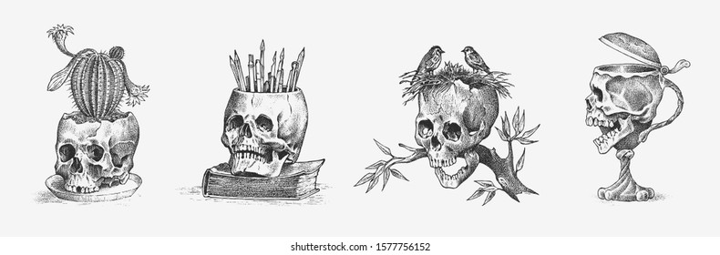Human skull in the form of a wine goblet, cactus and birds. Retro old school sketch for tattoo in vintage style. Monochrome Symbol. Hand drawn engraved retro badge for t-shirt, banner, poster and logo
