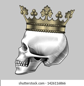 Human skull full face with a gold crown. Hamlet skull. Vintage engraving stylized drawing. Vector illustration