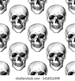 Human skull full face seamless pattern background. Vintage engraving stylized drawing. Vector illustration