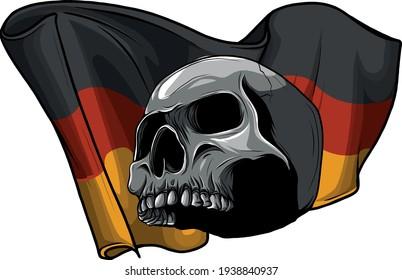 human skull with German flag vector illustration