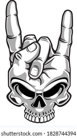 human skull gestures Rock and Roll sign of the horns