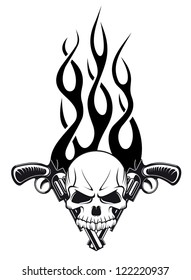 Human skull with gun and flames for tattoo design, such a logo template. Jpeg version also available in gallery
