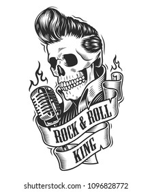 Human skull with hairstyle with microphone and ribbon. Vector illustration