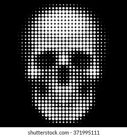 Human skull in halftone dots style Sign of poison or danger to life Vector isolated object for websites, design, icons, user picture, avatars, posters, t shirt, logo, stickers, tattoo or other