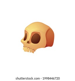 Human skull, head of skeleton. Symbol of death or dangerous. Design element for invitation at party halloween holiday. Flat cartoon vector illustration isolated on white.