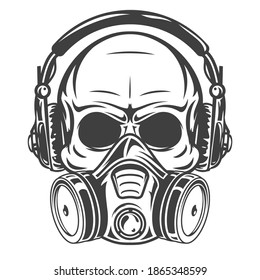 Human skull with headphones and gas mask. Monochrome vintage art design concept isolated on white background. Modern vector illustration for print, tattoo.