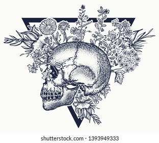 Human skull and herbs, tattoo and t-shirt design