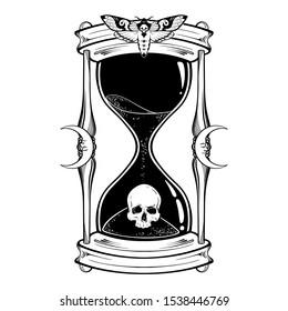 Human skull in hourglass isolated. Sticker, print or blackwork tattoo hand drawn vector illustration