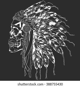 Human Skull With Indian War Bonnet, Vector Illustration