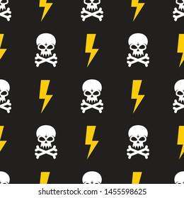 Human skull and lightning on black background - seamless vector pattern. Design element. Danger vector illustration.