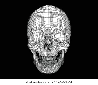 Human skull line art 3D vector wireframe drawing illustration isolated on black background
