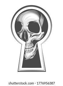 Human Skull Looks Through Keyhole. Vector illustration in tattoo style.