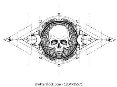 Human Skull and Lotus over Mandala inspired Sacred Geometry. Ayurveda symbol of harmony and balance. Tattoo flesh design, yoga logo. Boho print, poster, t-shirt textile. Isolated vector illustration.