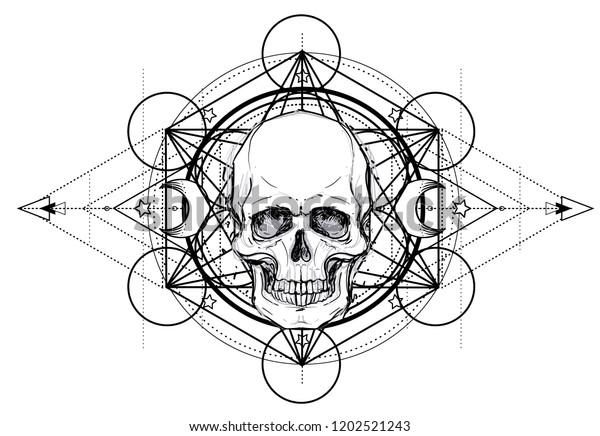 ca0f12c54 ... The Arts · Transportation · Vectors · Vintage. Human Skull and Lotus  over Mandala inspired Sacred Geometry. Ayurveda symbol of harmony and  balance