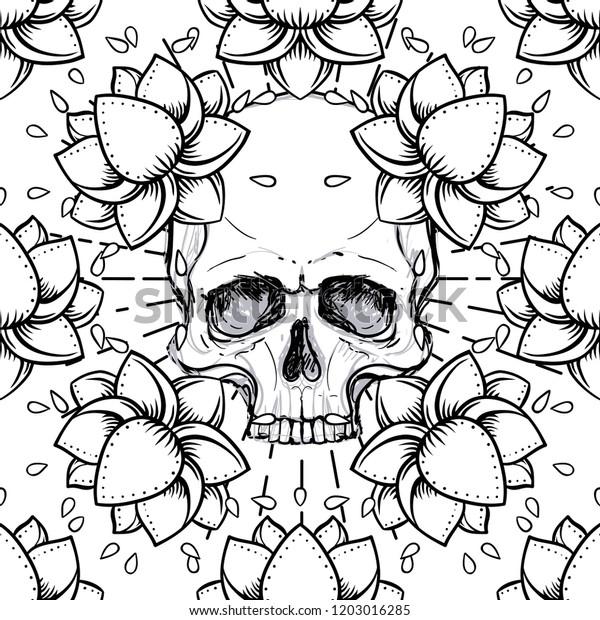 Human Skull Lotus Seamless Pattern Sacred Stock Vector Royalty Free