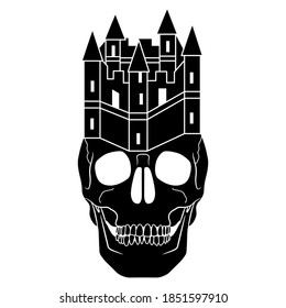 Human skull with medieval castle as royal crown. Creative concept. Haunted house. Black and white silhouette.