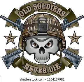 human skull with military helmet crossing assault rifles and banners