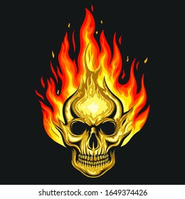human skull on fire logo design