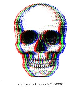 human skull painted dots, pop art style imitation 3d effect red green blue, glitch