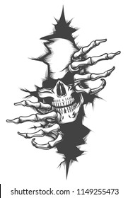 Human Skull peeping Through Hole drawn in tattoo style. Vector illustration.