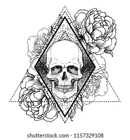 Human skull with peony, rose and poppy flowers over sacred geometry  background.Tattoo design element. Vector illustration.