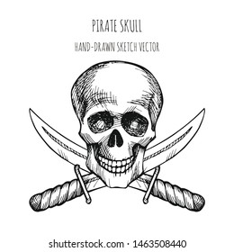 Human skull. Pirate symbol. Jolly Roger. Hand drawn sketch vector