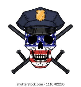 Human skull in police cap and crossed police baton with USA flag. Policeman skull