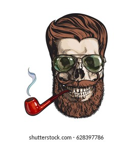 9a9a9314df9f Human skull with red hipster beard