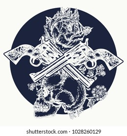 Human skull and revolvers t-shirt design. Symbol of the wild west, robber, crime